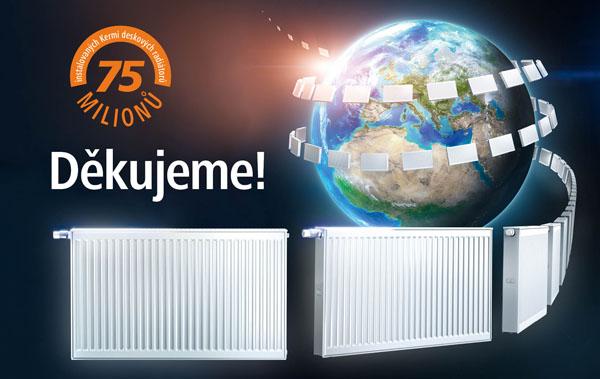 75 milionů instalovaných deskových radiátorů Kermi. Děkujeme